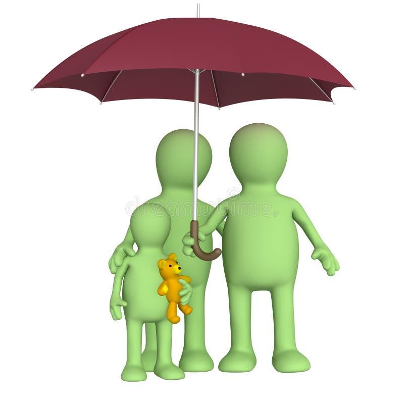 rodzinny szczęśliwy parasol