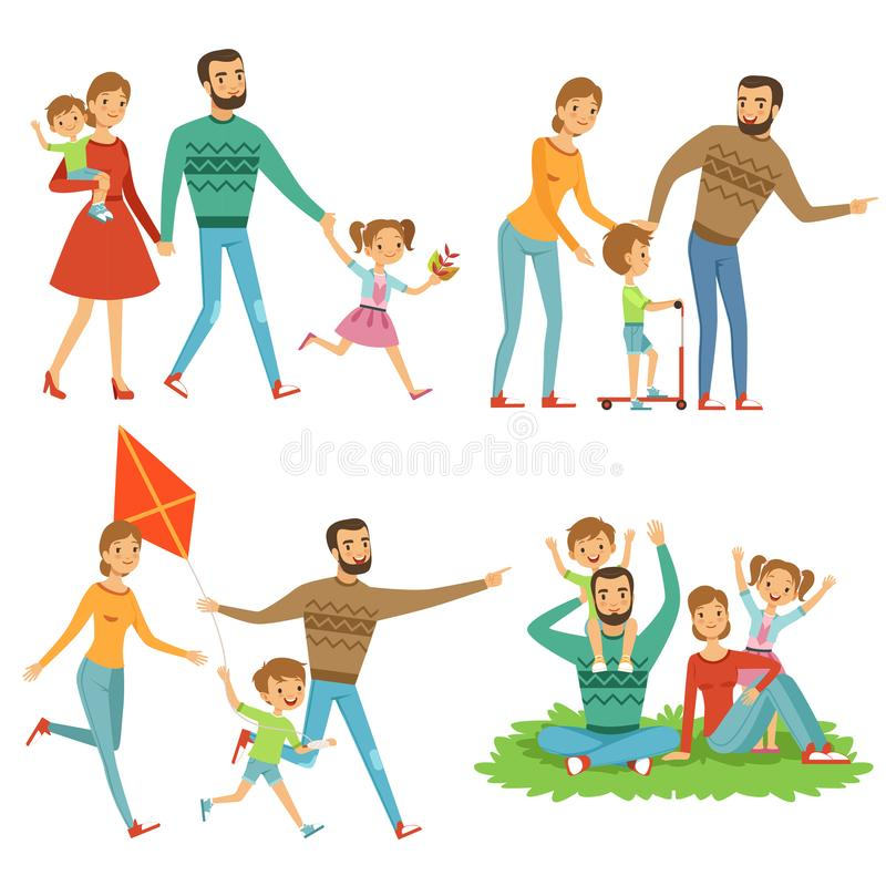 rodzinny szczęśliwy parkowy odprowadzenie Śmieszni charaktery ustawiający w kreskówka stylu royalty ilustracja
