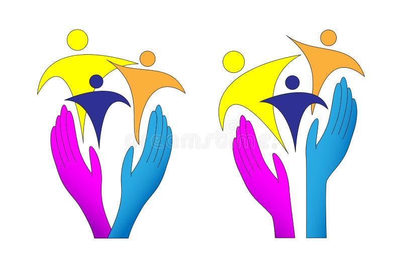 Rodzinny troskliwy logo ilustracji