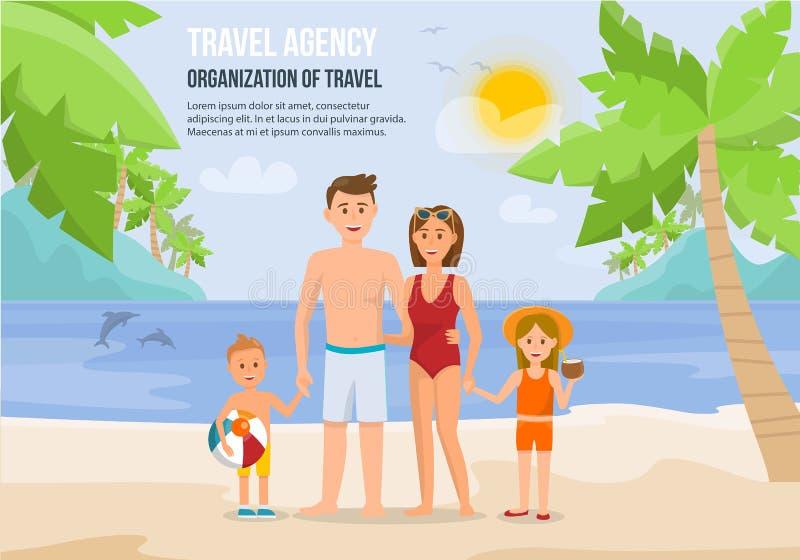 Rodzinny wakacje na plaży również zwrócić corel ilustracji wektora royalty ilustracja