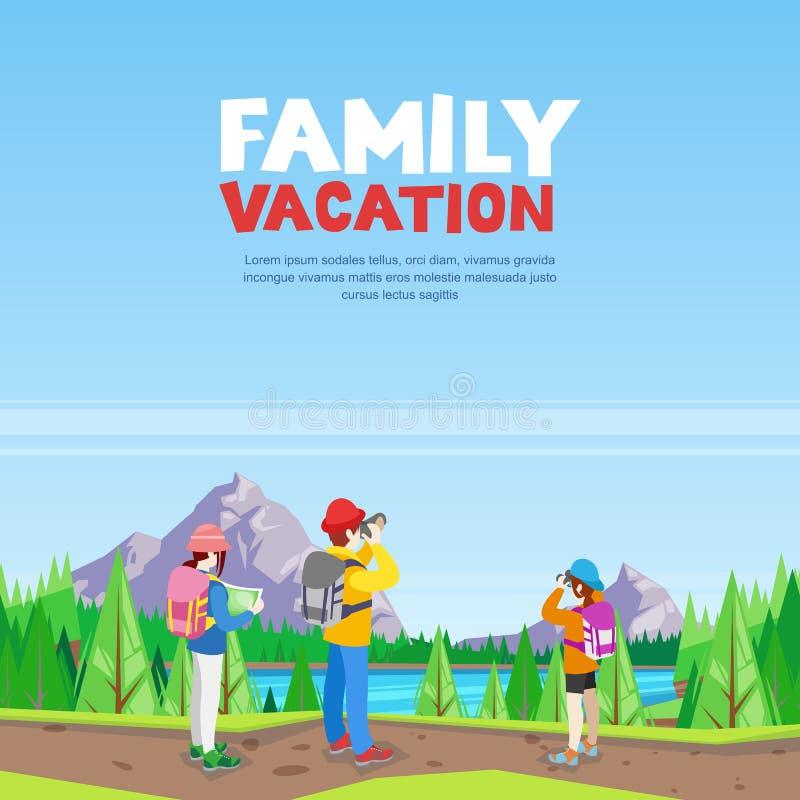 Rodzinny wakacje, wycieczkujący i outdoors bawi się aktywność Wektorowa kreskówka stylu ilustracja ilustracji