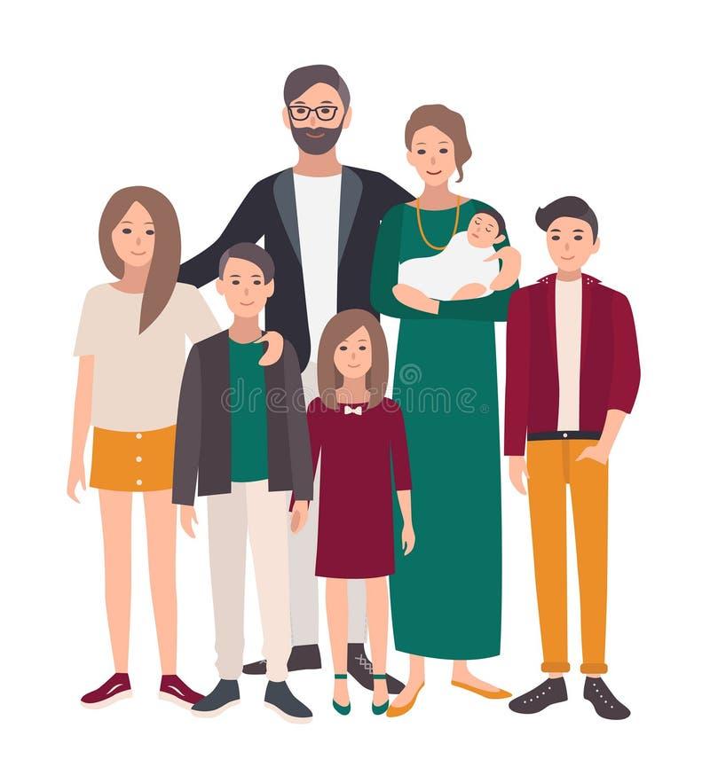 rodzinny wielki portret Europejczyk matka, ojciec i pięć dzieci, Szczęśliwi ludzie z krewnymi Kolorowy mieszkanie royalty ilustracja