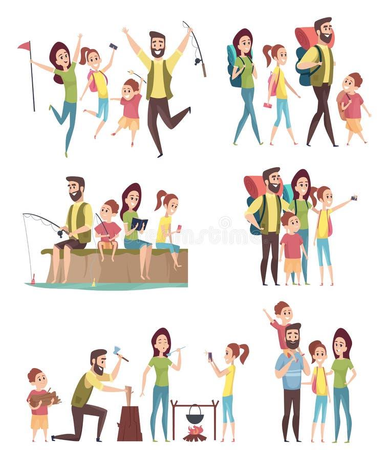 Rodzinny wycieczkowa? Pary z dzieciakami bada podróżników turystów szczęśliwą przygodę w góra obozuje wektorowych charakterach ilustracji