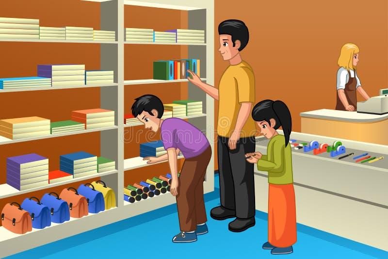 Rodzinny zakupy Dla Z powrotem szkoły ilustracja ilustracja wektor