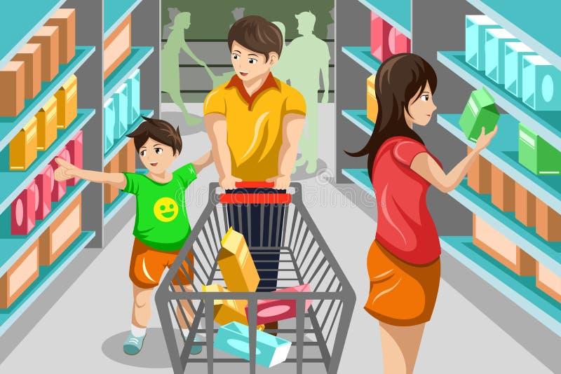 Rodzinny zakupy sklep spożywczy ilustracji