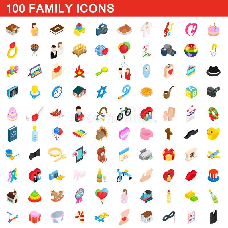 100 rodzinnych ikon ustawiających, isometric 3d styl royalty ilustracja