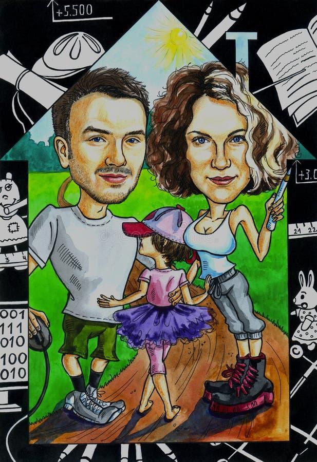 Rodziny domowa kreskówka royalty ilustracja