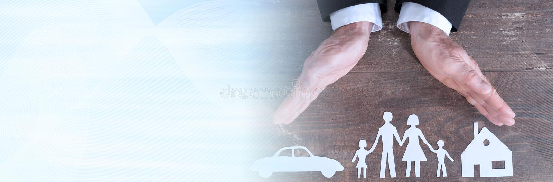Rodziny, domu i ubezpieczenia samochodu poj?cie, sztandar panoramiczny zdjęcia royalty free