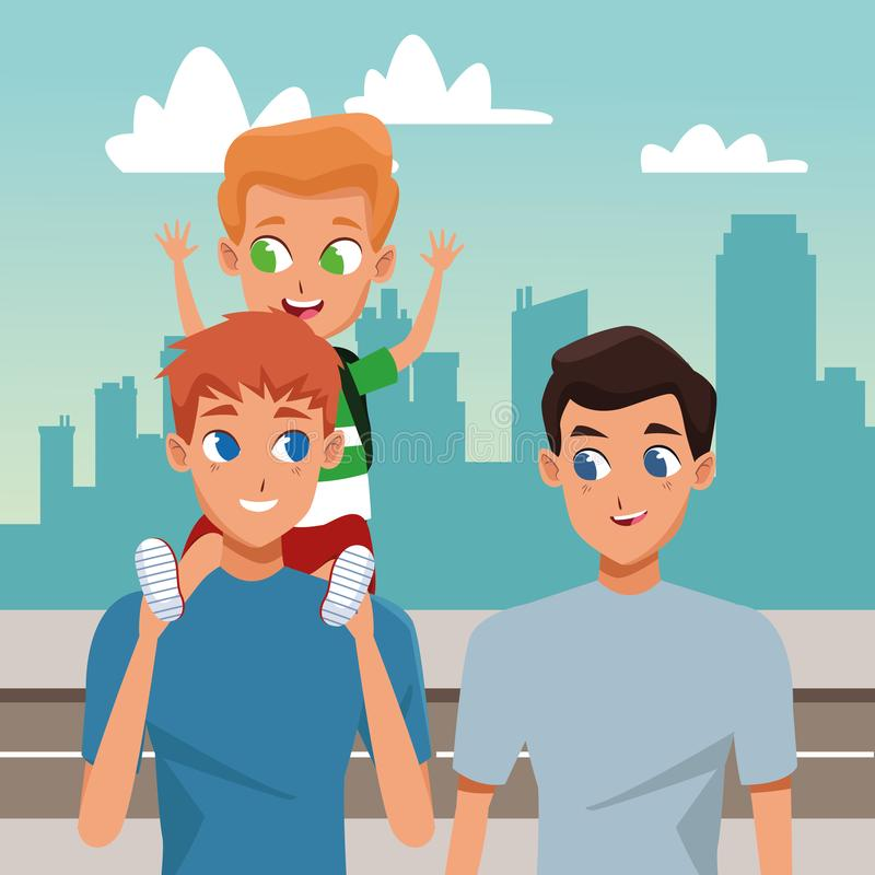 Rodziny dwa ojcowie z dziećmi royalty ilustracja