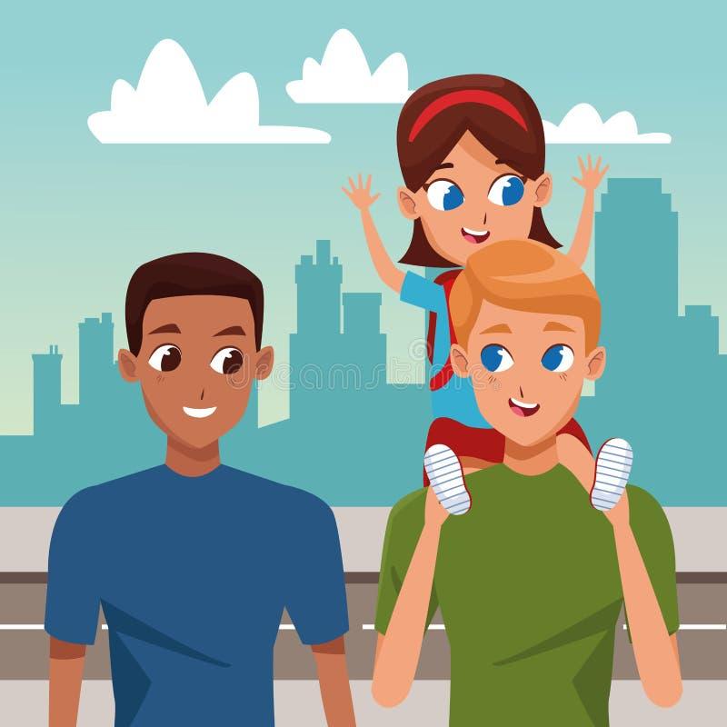 Rodziny dwa ojcowie z dziećmi ilustracja wektor