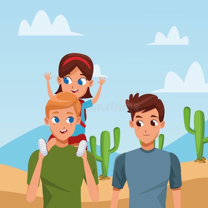 Rodziny dwa ojcowie z dziećmi ilustracji