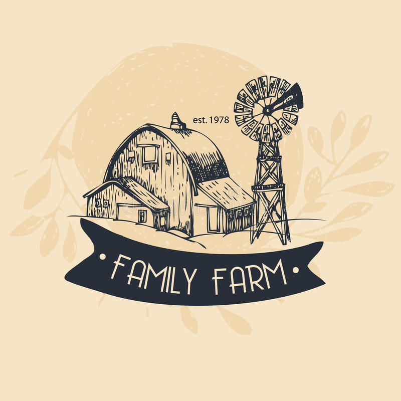 Rodziny gospodarstwo rolne, wiejski krajobraz ilustracja wektor