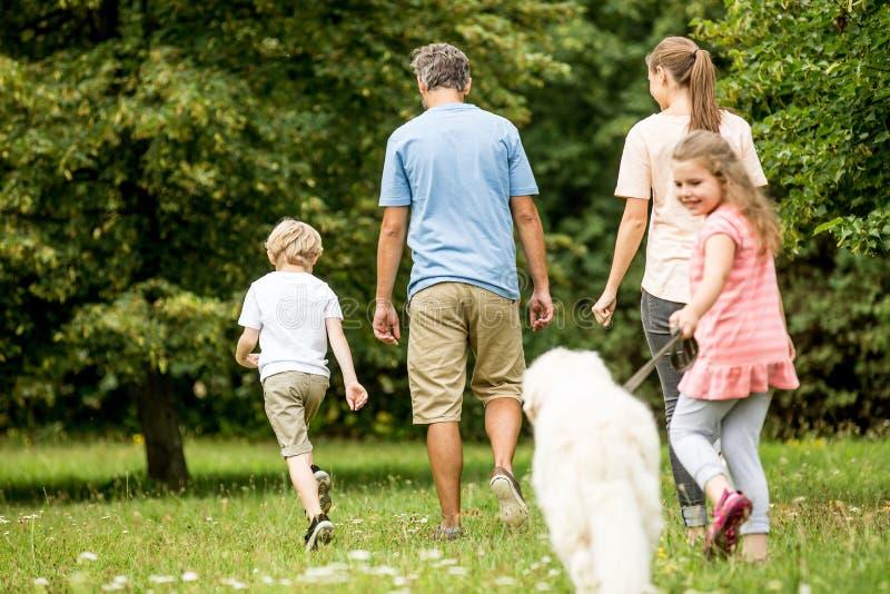 Rodziny i dziewczyny odprowadzenia pies fotografia royalty free