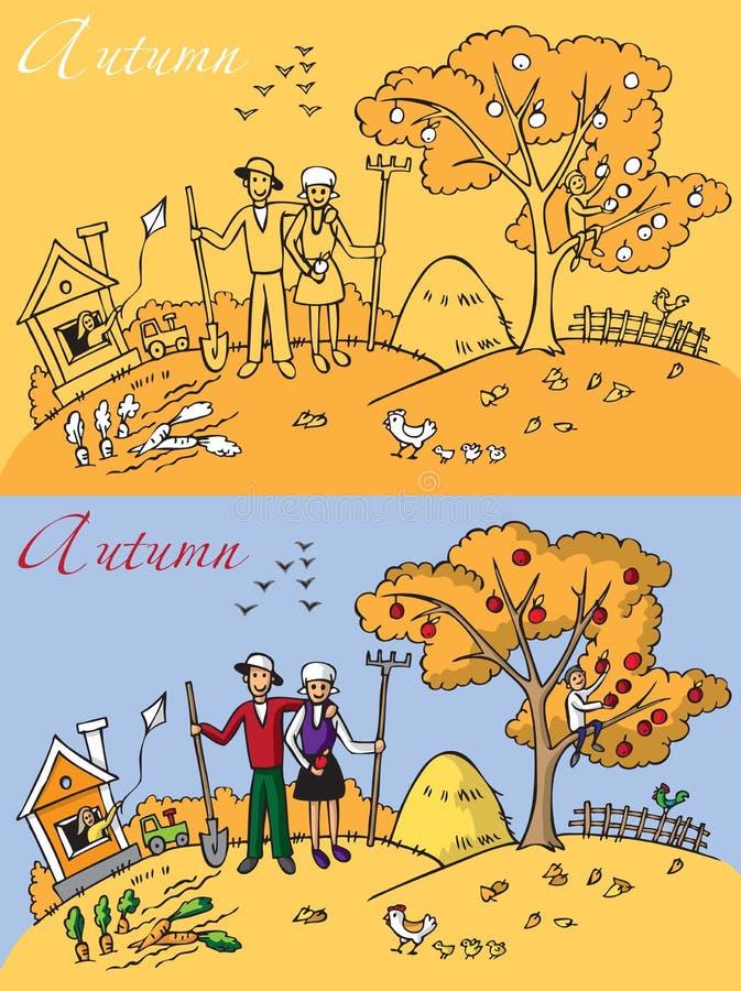 Rodziny krajobrazowa jesień ilustracji