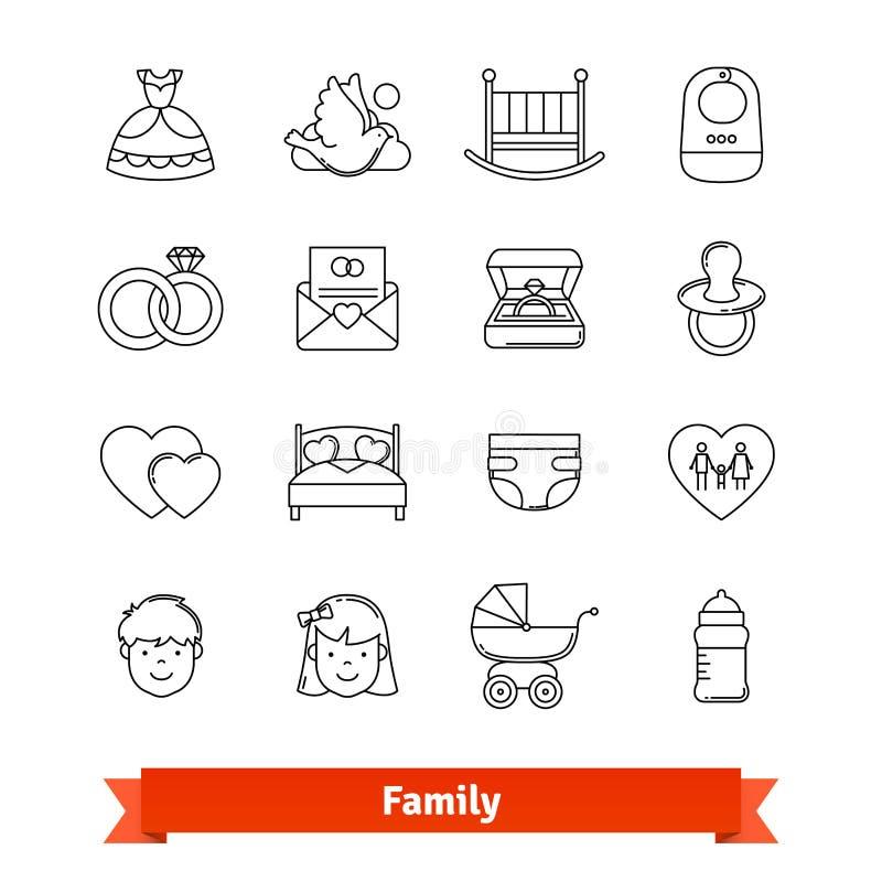 Rodziny kreskowej sztuki cienkie ikony ustawiać royalty ilustracja