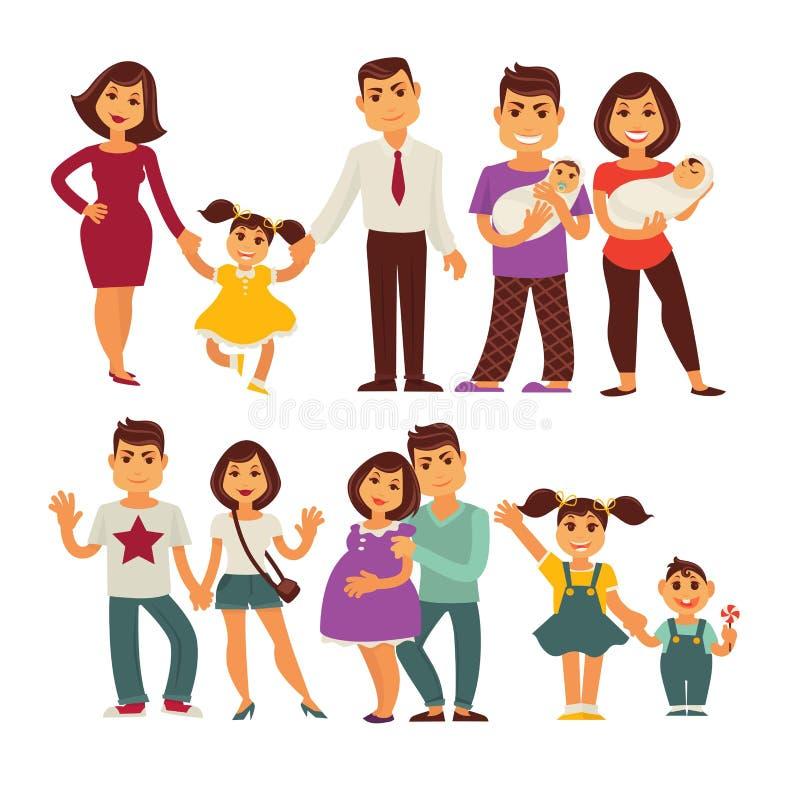 Rodziny matka, ojciec i dziecko wektorowe płaskie ikony ustawiać, royalty ilustracja
