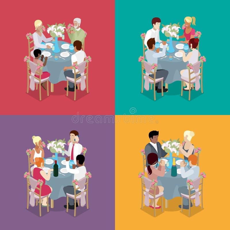 Rodziny Partyjny świętowanie Goście świętują przy stołami Isometric mieszkania 3d ilustracja ilustracji