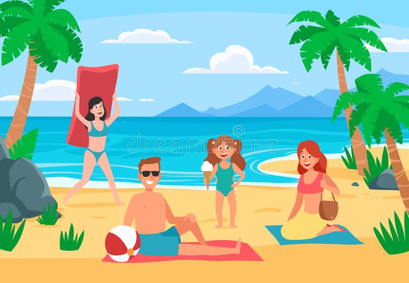 Rodziny pla?y wakacje Młoda rodzina z szczęśliwymi dzieciakami sunbathing na piasek plaży, lata seashore kreskówki wektor royalty ilustracja