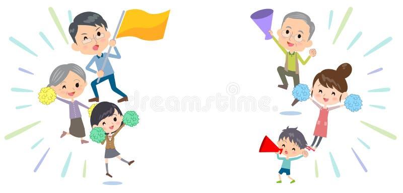 Rodziny trzy pokoleń poparcia doping ilustracja wektor