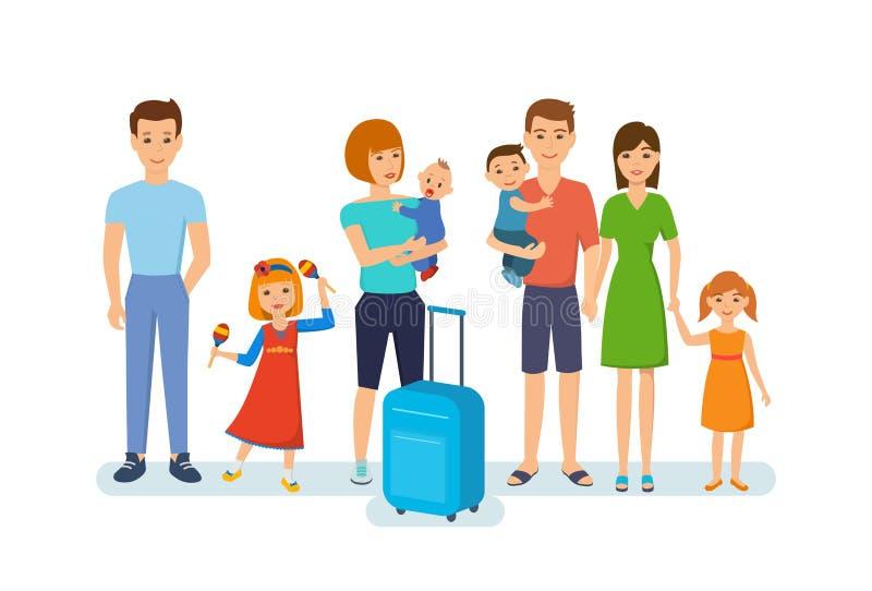 Rodziny z dziećmi, łącznym czasem, odpoczynkiem i zabawą, rozrywka, podróż royalty ilustracja