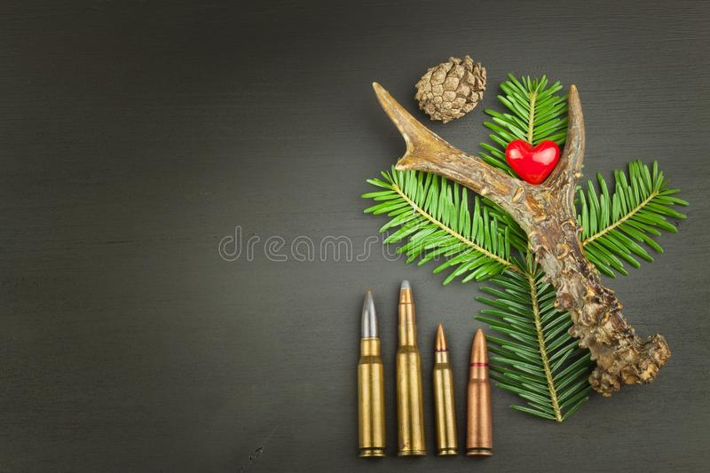 Roe deer antler and needles. Sales of hunting needs. Invitation to the hunting season. Advertising on hunting cartridges. Diploma for hunters. Place for your royalty free stock images