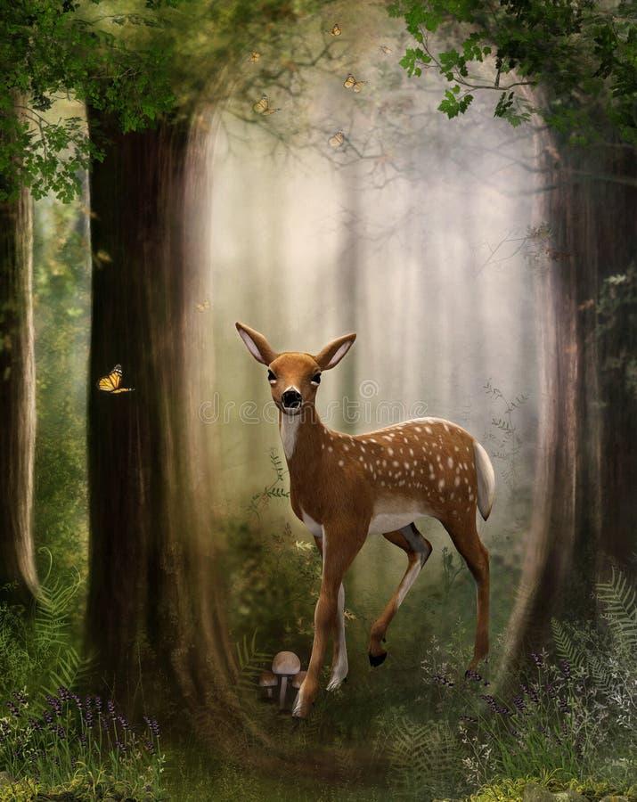 Roe Deer Fawn en un bosque encantador stock de ilustración