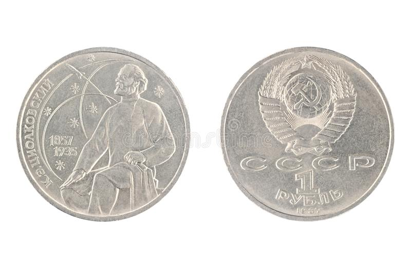 1 roebel vanaf 1987, toont Konstantin Tsiolkovsky royalty-vrije stock foto