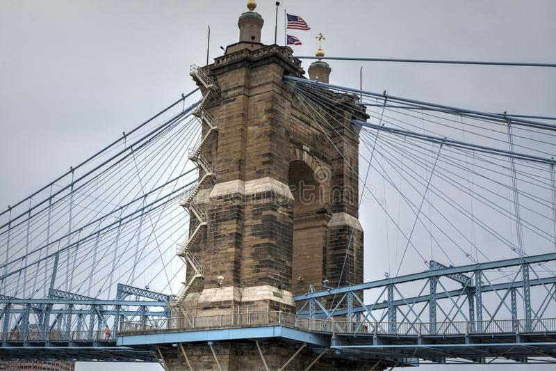 Roebling Aufhebung-Brücke lizenzfreie stockfotografie