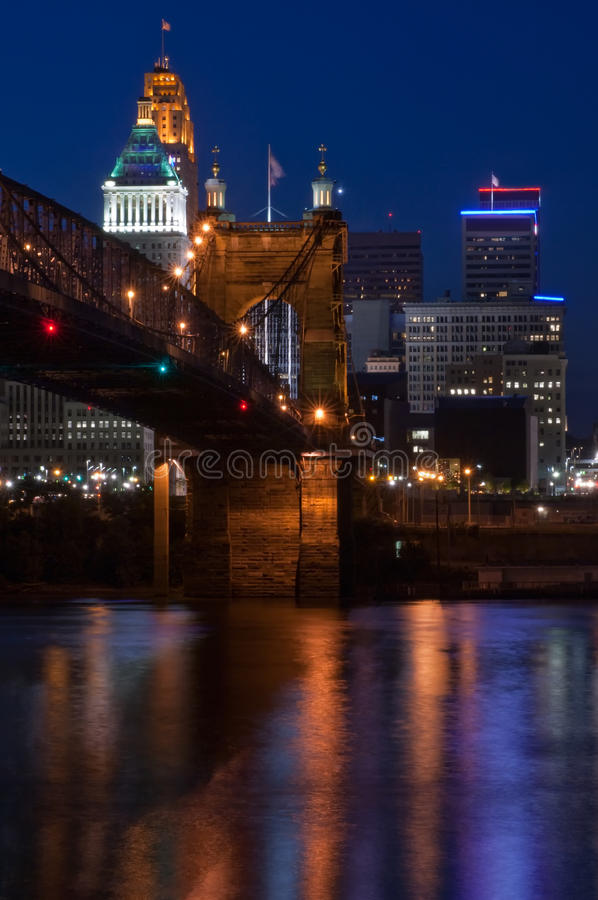roebling Cincinnati bridżowy zawieszenie zdjęcie royalty free