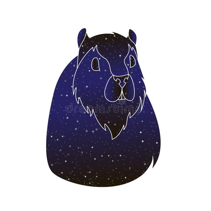 Roedor dos animais de estimação Ilustração animal da cobaia do esboço do vetor, silhueta da cor do céu noturno isolada no fundo b ilustração stock