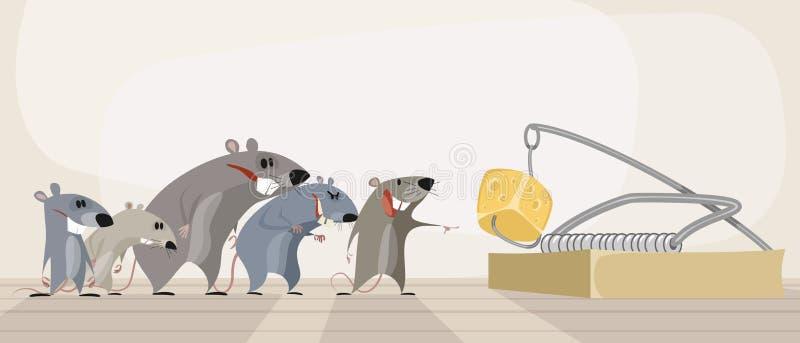 Roedores e queijo na ratoeira ilustração do vetor