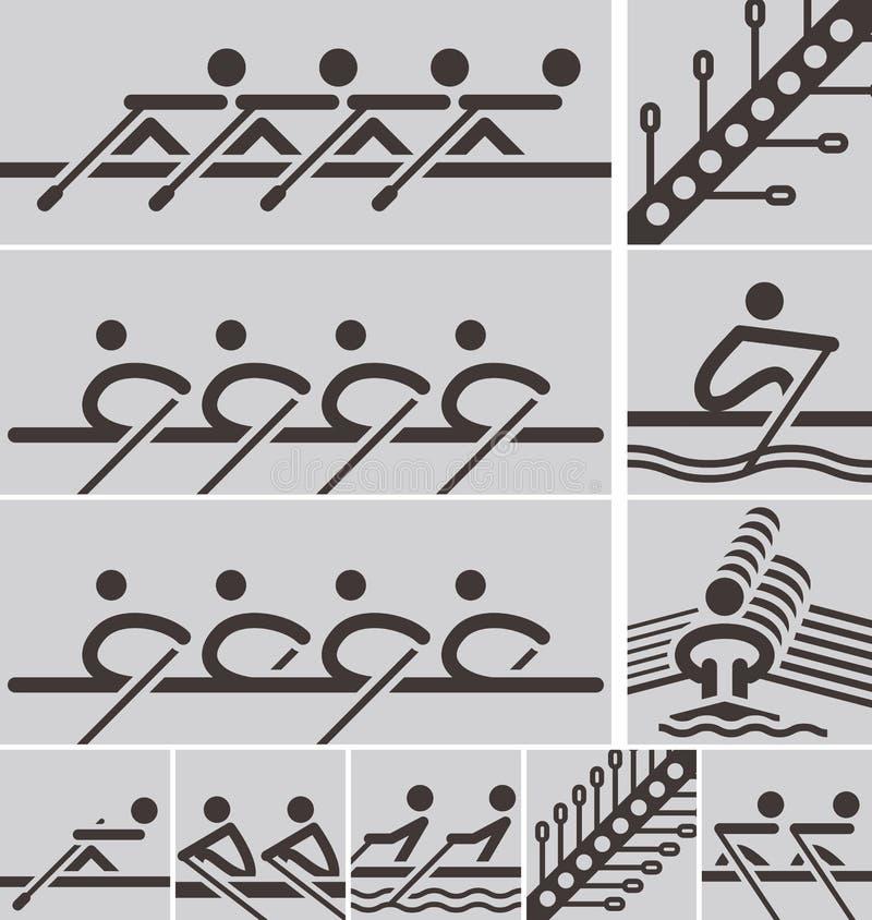 Roeiende pictogrammen royalty-vrije illustratie