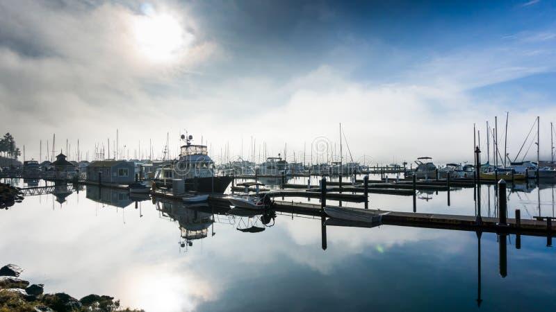 Roeienhaven op een koude, nevelige ochtend royalty-vrije stock afbeelding