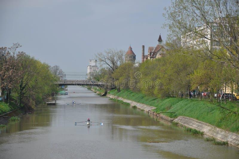 Roeiers op de rivier stock foto