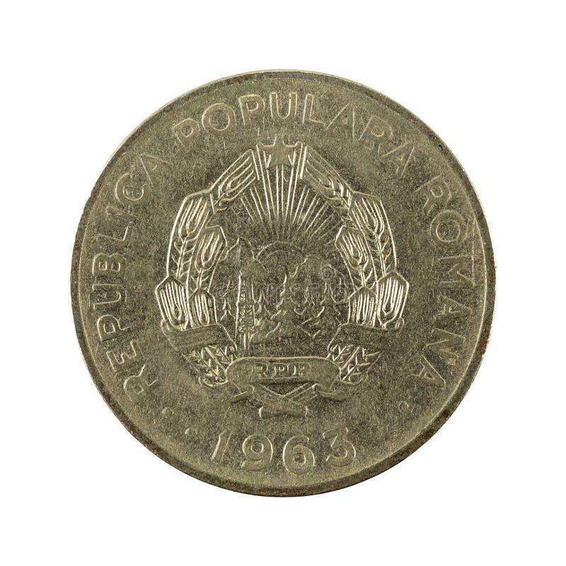 1 Roemeens die leu muntstuk 1963 omgekeerde op witte achtergrond wordt geïsoleerd royalty-vrije stock afbeelding