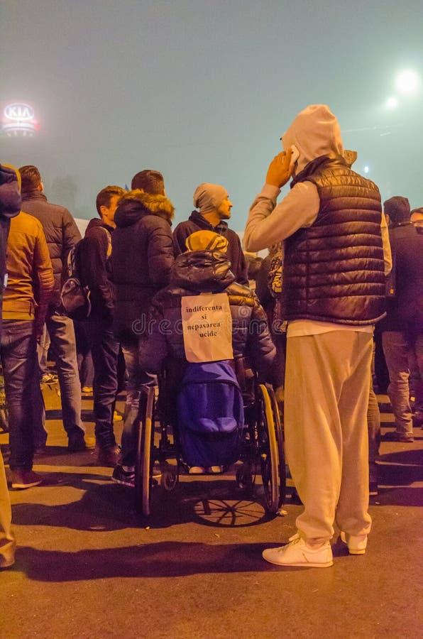 Roemeens Protest 06/11/2015, Boekarest stock fotografie