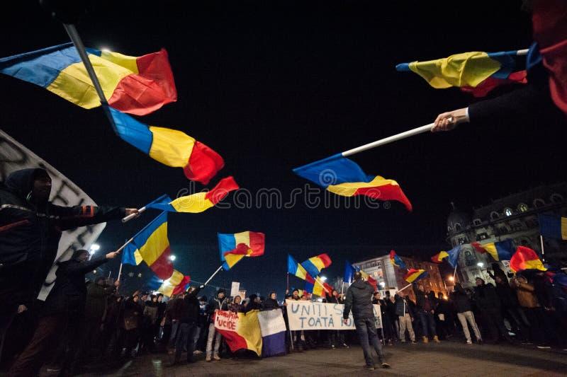 Roemeens protest voor democratie stock afbeelding