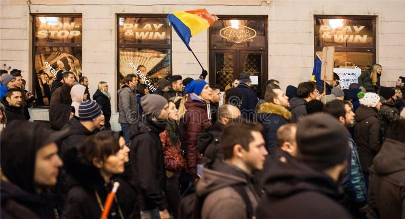 Roemeens protest voor democratie royalty-vrije stock foto