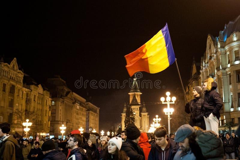 Roemeens protest voor democratie royalty-vrije stock afbeeldingen
