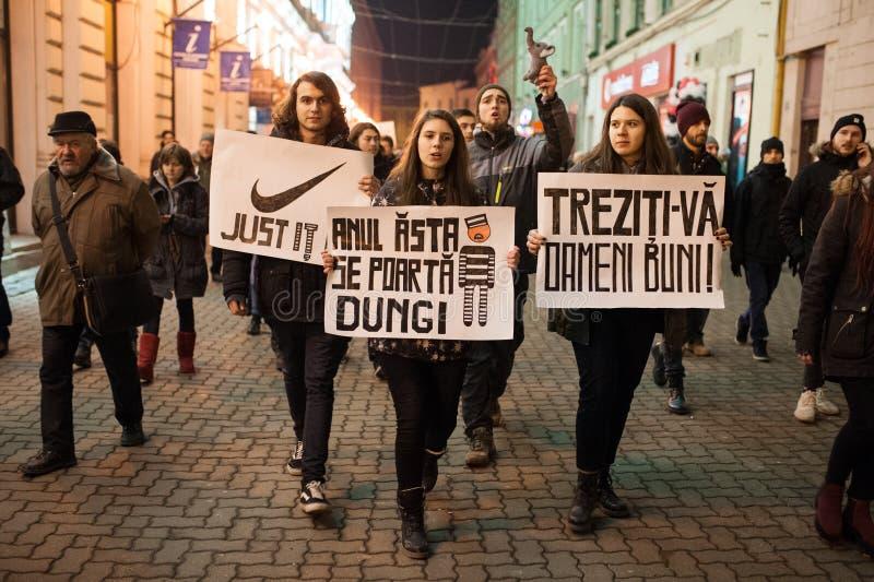 Roemeens protest voor democratie royalty-vrije stock foto's