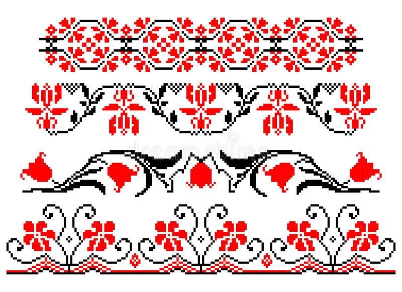 Roemeens traditioneel bloementhema stock illustratie
