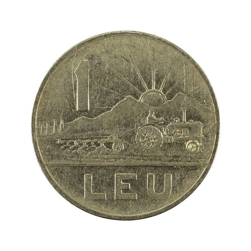 1 Roemeense die leu muntstuk 1963 obvers op witte achtergrond worden geïsoleerd stock afbeelding