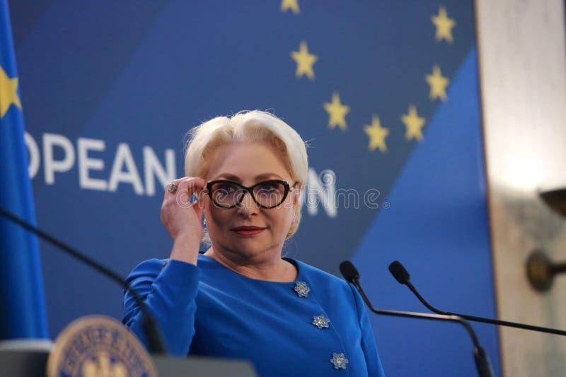 Roemeense Eerste minister Viorica Dancila stock afbeeldingen