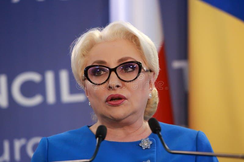 Roemeense Eerste minister Viorica Dancila stock foto's