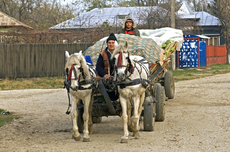 Roemeense landbouwers op weg met paard en vervoer royalty-vrije stock foto