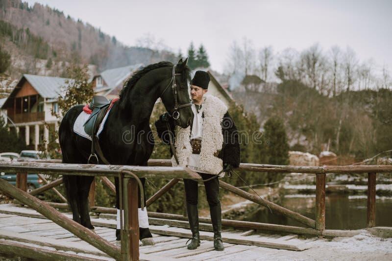 Roemeense traditie op een de winterdag royalty-vrije stock fotografie