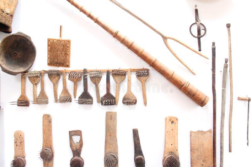 Roemeense traditionele voorwerpen van boer stock afbeelding