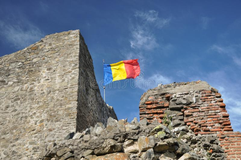 Roemeense vlag stock fotografie