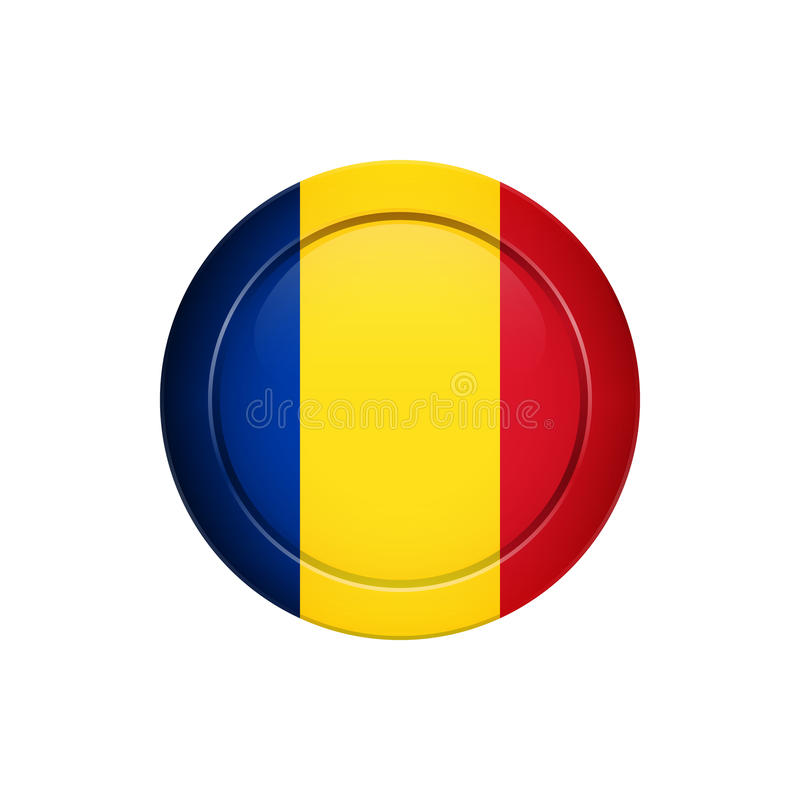 Roemeense vlag op de ronde knoop, vectorillustratie vector illustratie