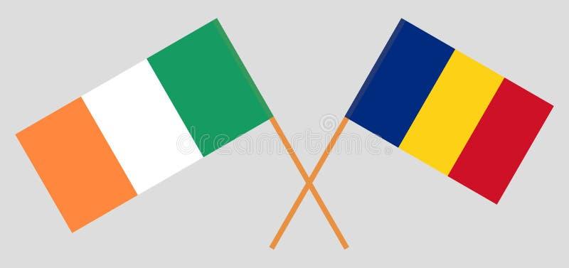 Roemenië en Ierland De Roemeense en Ierse vlaggen Officieel aandeel Correcte kleuren Vector vector illustratie